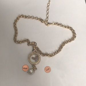 """18-20"""" gold chain with bracelet locket and face."""